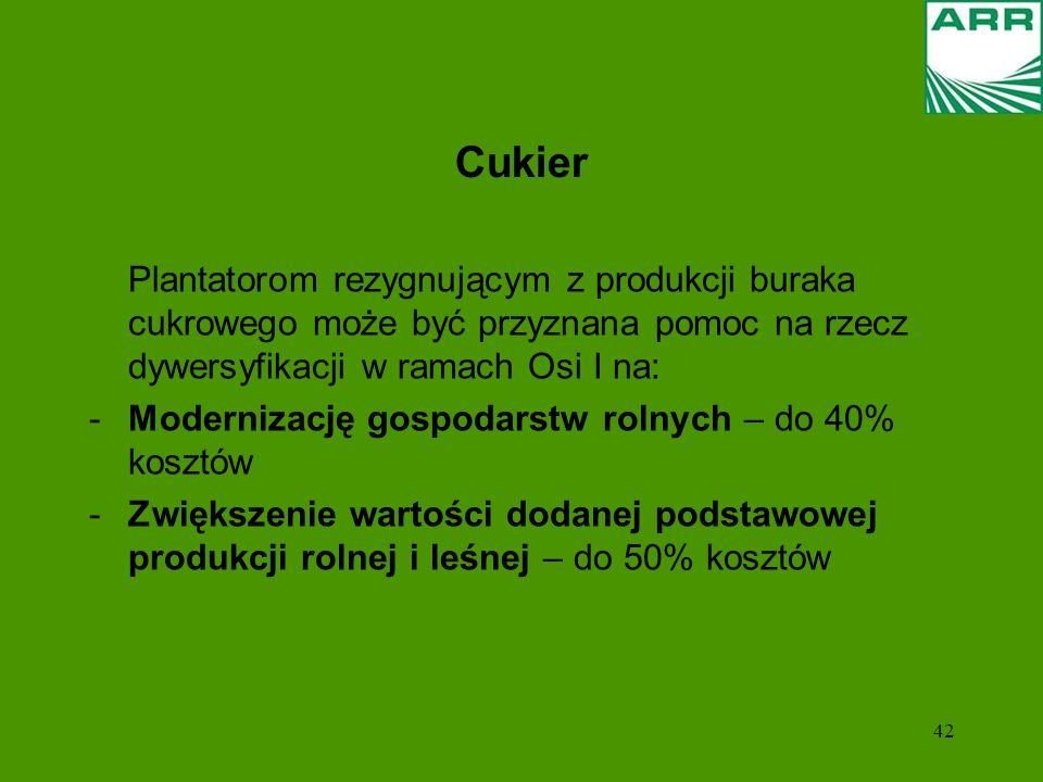 42 Cukier Plantatorom rezygnującym z produkcji buraka cukrowego może być przyznana pomoc na rzecz dywersyfikacji w ramach Osi I na: -Modernizację gospodarstw rolnych – do 40% kosztów -Zwiększenie wartości dodanej podstawowej produkcji rolnej i leśnej – do 50% kosztów