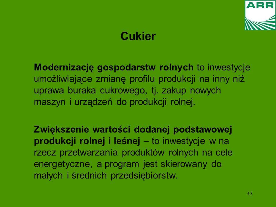 43 Cukier Modernizację gospodarstw rolnych to inwestycje umożliwiające zmianę profilu produkcji na inny niż uprawa buraka cukrowego, tj. zakup nowych