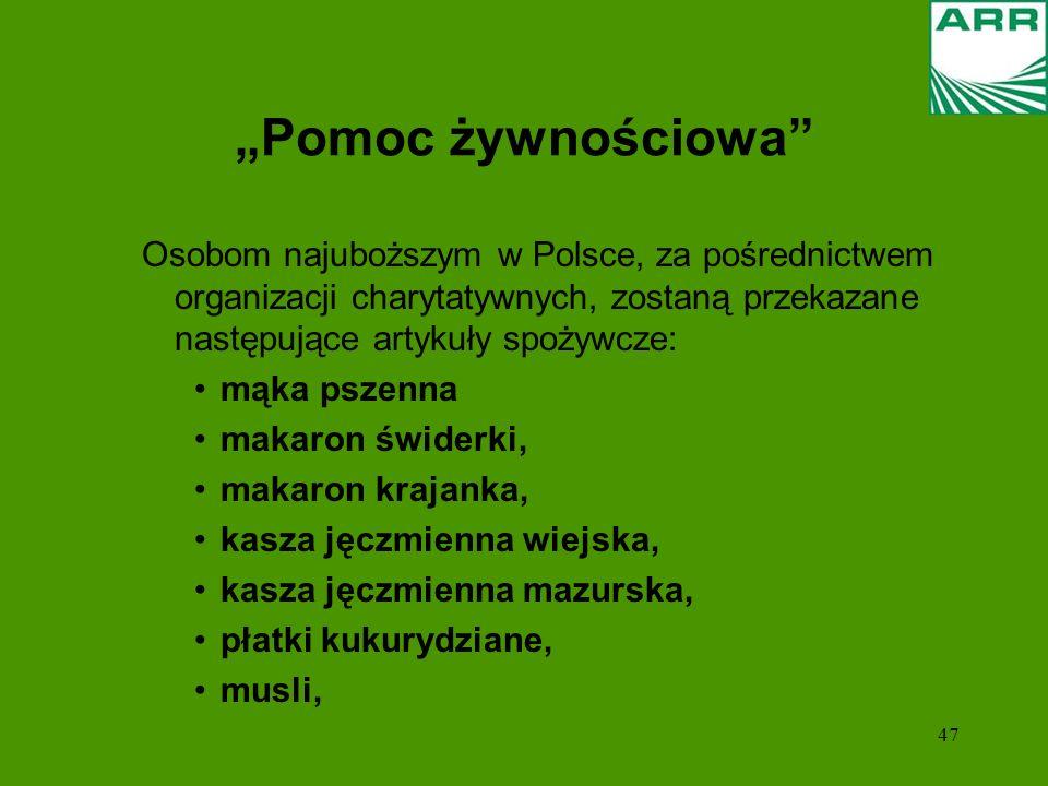 47 Pomoc żywnościowa Osobom najuboższym w Polsce, za pośrednictwem organizacji charytatywnych, zostaną przekazane następujące artykuły spożywcze: mąka