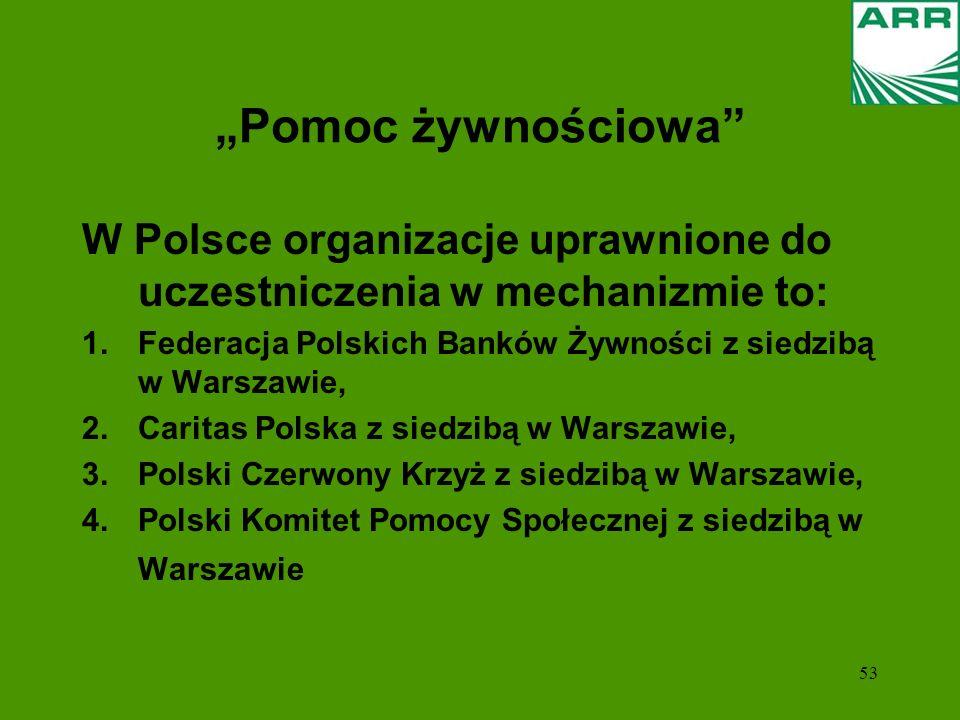 53 Pomoc żywnościowa W Polsce organizacje uprawnione do uczestniczenia w mechanizmie to: 1.Federacja Polskich Banków Żywności z siedzibą w Warszawie,