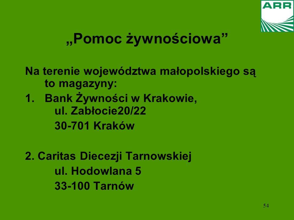 54 Pomoc żywnościowa Na terenie województwa małopolskiego są to magazyny: 1.Bank Żywności w Krakowie, ul. Zabłocie20/22 30-701 Kraków 2. Caritas Diece