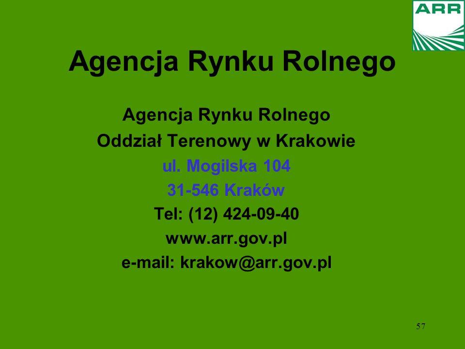 57 Agencja Rynku Rolnego Oddział Terenowy w Krakowie ul. Mogilska 104 31-546 Kraków Tel: (12) 424-09-40 www.arr.gov.pl e-mail: krakow@arr.gov.pl