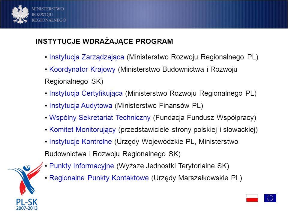 INSTYTUCJE WDRAŻAJĄCE PROGRAM Instytucja Zarządzająca (Ministerstwo Rozwoju Regionalnego PL) Koordynator Krajowy (Ministerstwo Budownictwa i Rozwoju Regionalnego SK) Instytucja Certyfikująca (Ministerstwo Rozwoju Regionalnego PL) Instytucja Audytowa (Ministerstwo Finansów PL) Wspólny Sekretariat Techniczny (Fundacja Fundusz Współpracy) Komitet Monitorujący (przedstawiciele strony polskiej i słowackiej) Instytucje Kontrolne (Urzędy Wojewódzkie PL, Ministerstwo Budownictwa i Rozwoju Regionalnego SK) Punkty Informacyjne (Wyższe Jednostki Terytorialne SK) Regionalne Punkty Kontaktowe (Urzędy Marszałkowskie PL)