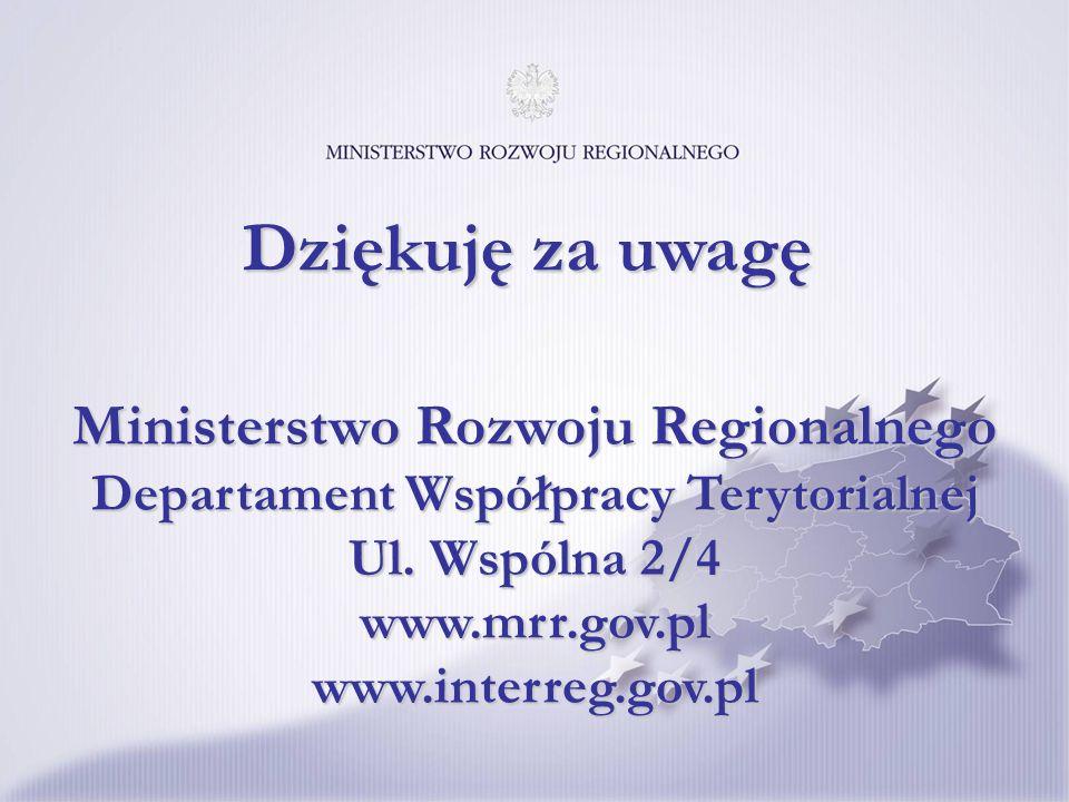 Ministerstwo Rozwoju Regionalnego Departament Współpracy Terytorialnej Ul.