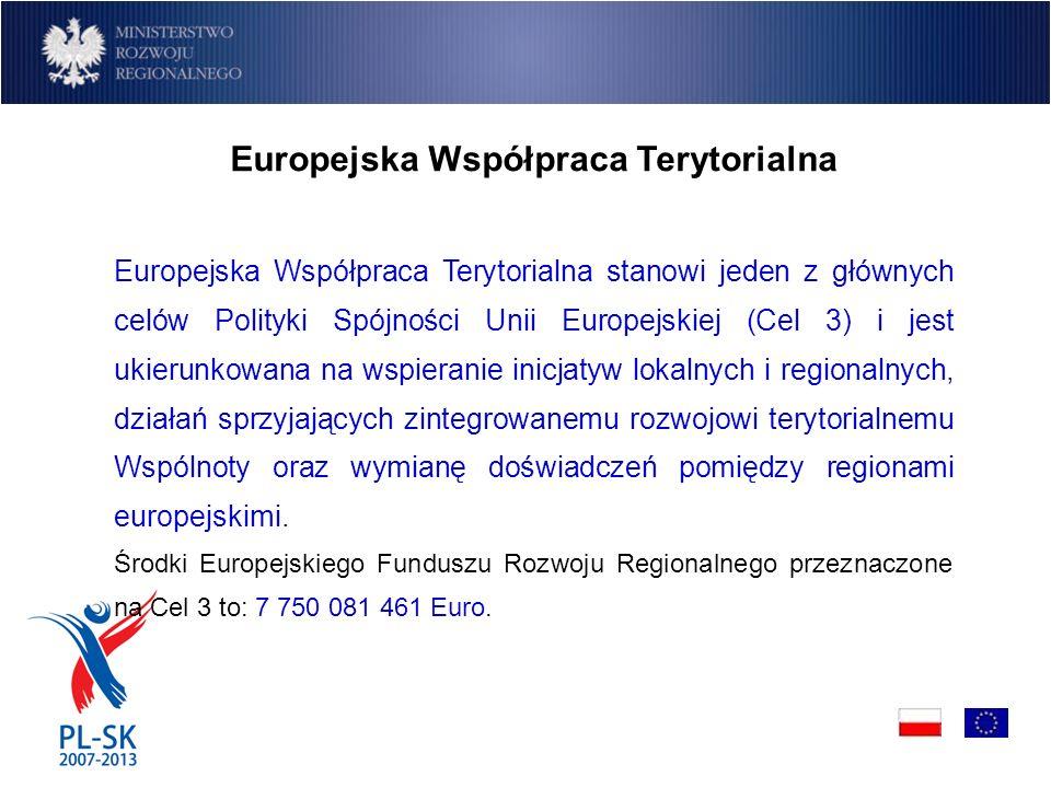 Europejska Współpraca Terytorialna Europejska Współpraca Terytorialna stanowi jeden z głównych celów Polityki Spójności Unii Europejskiej (Cel 3) i jest ukierunkowana na wspieranie inicjatyw lokalnych i regionalnych, działań sprzyjających zintegrowanemu rozwojowi terytorialnemu Wspólnoty oraz wymianę doświadczeń pomiędzy regionami europejskimi.
