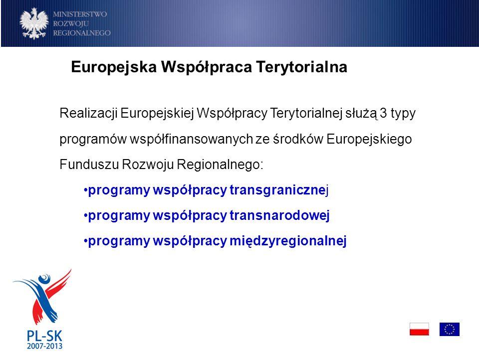 Realizacji Europejskiej Współpracy Terytorialnej służą 3 typy programów współfinansowanych ze środków Europejskiego Funduszu Rozwoju Regionalnego: programy współpracy transgranicznej programy współpracy transnarodowej programy współpracy międzyregionalnej Europejska Współpraca Terytorialna
