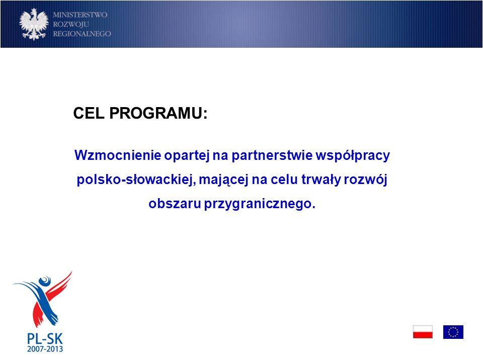 CEL PROGRAMU: Wzmocnienie opartej na partnerstwie współpracy polsko-słowackiej, mającej na celu trwały rozwój obszaru przygranicznego.
