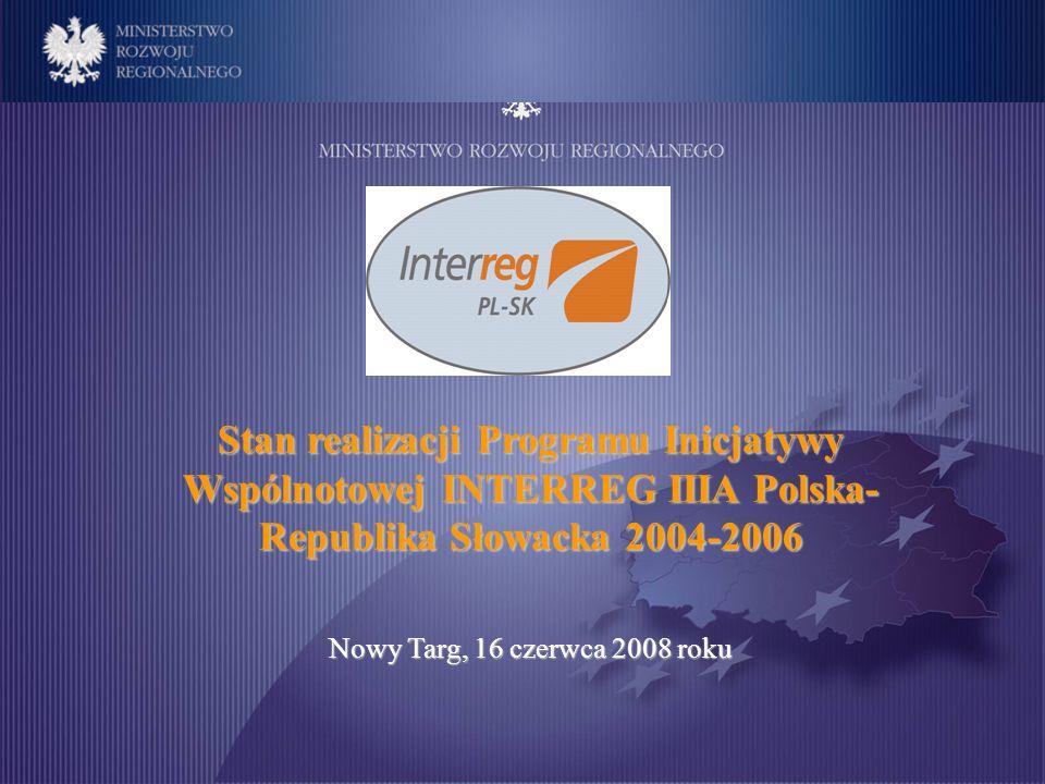 Stan realizacji Programu Inicjatywy Wspólnotowej INTERREG IIIA Polska- Republika Słowacka 2004-2006 Nowy Targ, 16 czerwca 2008 roku