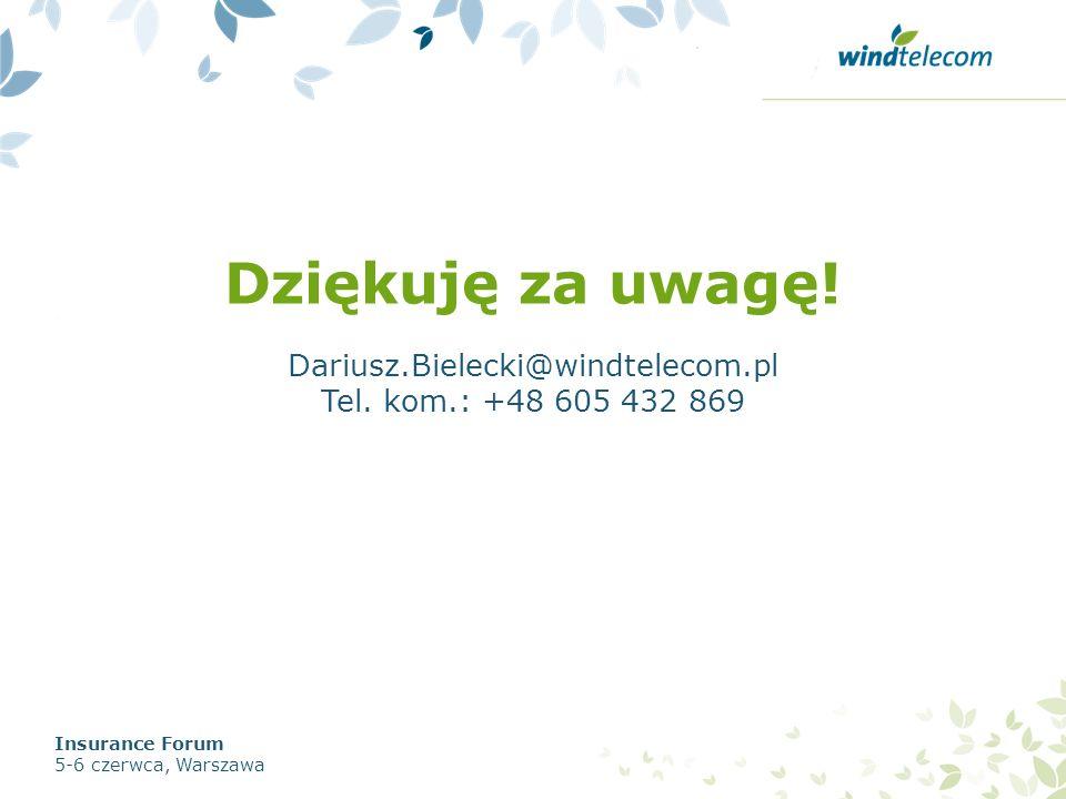 Dziękuję za uwagę! Dariusz.Bielecki@windtelecom.pl Tel. kom.: +48 605 432 869 Insurance Forum 5-6 czerwca, Warszawa