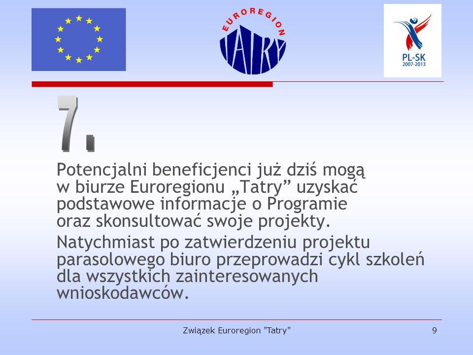Związek Euroregion Tatry 10 Program Współpracy Transgranicznej PL-SK 2007-2013 Projekt parasolowy na lata 2007-2010 Partner wiodący - Euroregion Karpacki Całkowita alokacja - 14.823.006,54 EUR, w tym Euroregion Tatry - 2.703.256,76 EUR Rok: 2007 - 718.118,02 EUR 2008 - 651.644,06 EUR 2009 - 655.548,28 EUR 2010 - 677.946,40 EUR