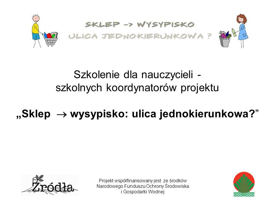 Szkolenie dla nauczycieli - szkolnych koordynatorów projektu Sklep wysypisko: ulica jednokierunkowa.
