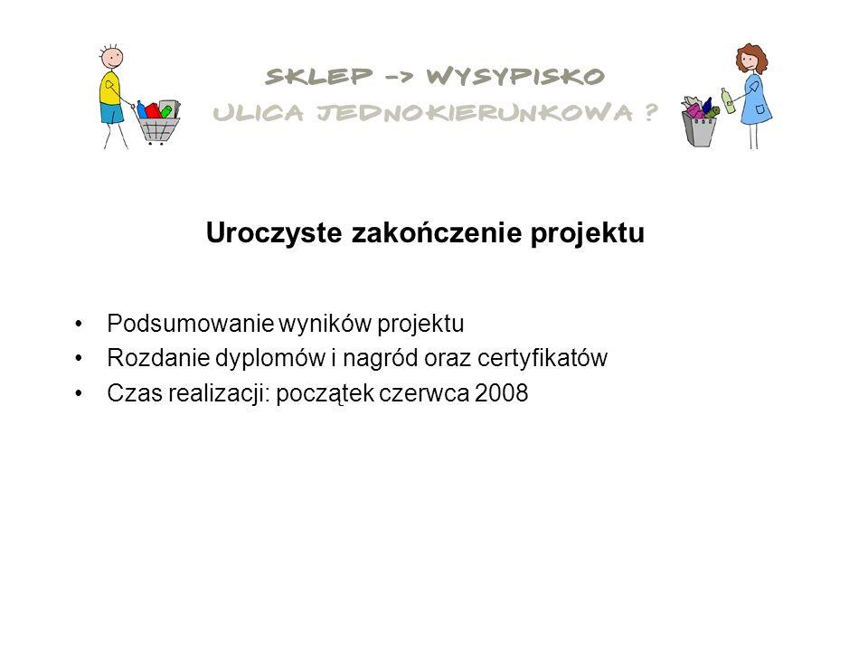 Podsumowanie wyników projektu Rozdanie dyplomów i nagród oraz certyfikatów Czas realizacji: początek czerwca 2008 Uroczyste zakończenie projektu