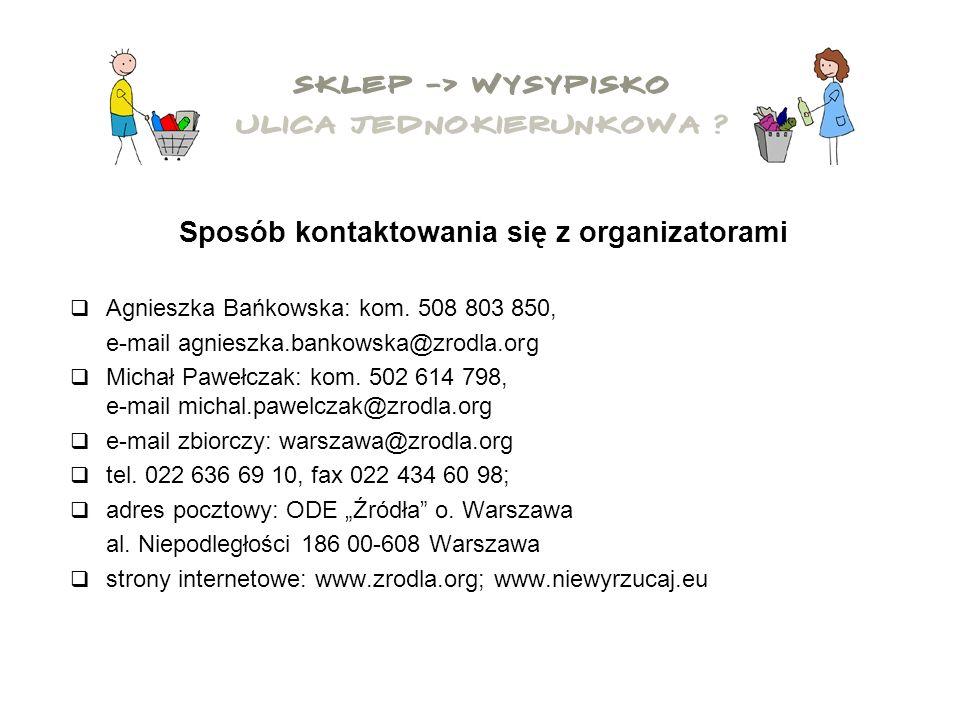 Sposób kontaktowania się z organizatorami Agnieszka Bańkowska: kom.