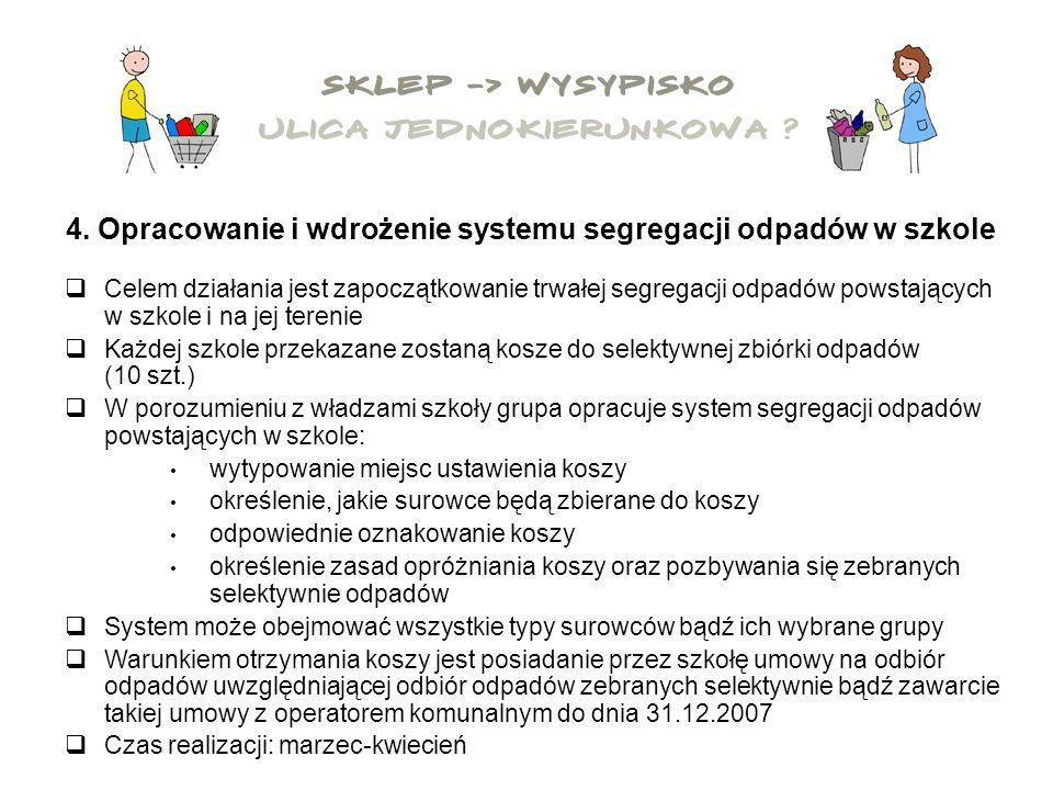 4. Opracowanie i wdrożenie systemu segregacji odpadów w szkole Celem działania jest zapoczątkowanie trwałej segregacji odpadów powstających w szkole i
