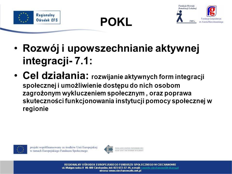 POKL Rozwój i upowszechnianie aktywnej integracji- 7.1: Cel działania: rozwijanie aktywnych form integracji społecznej i umożliwienie dostępu do nich osobom zagrożonym wykluczeniem społecznym, oraz poprawa skuteczności funkcjonowania instytucji pomocy społecznej w regionie