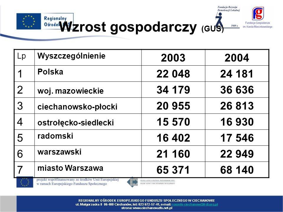 Wzrost gospodarczy (GUS) LpWyszczególnienie 20032004 1 Polska 22 04824 181 2 woj.