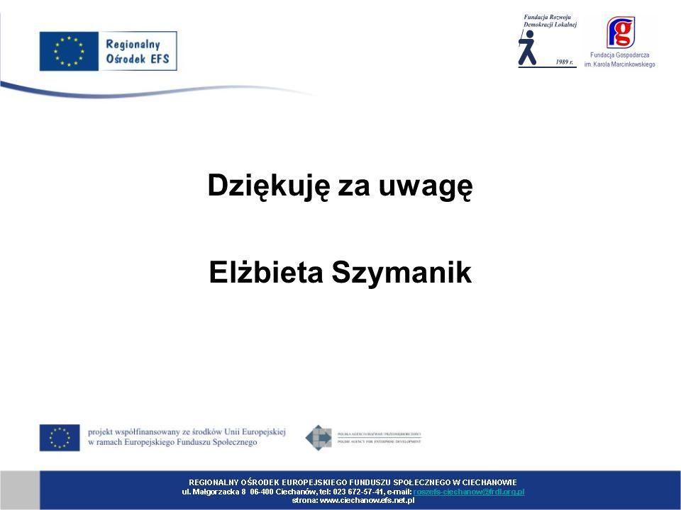 Dziękuję za uwagę Elżbieta Szymanik