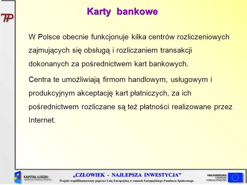 Karty bankowe W Polsce obecnie funkcjonuje kilka centrów rozliczeniowych zajmujących się obsługą i rozliczaniem transakcji dokonanych za pośrednictwem
