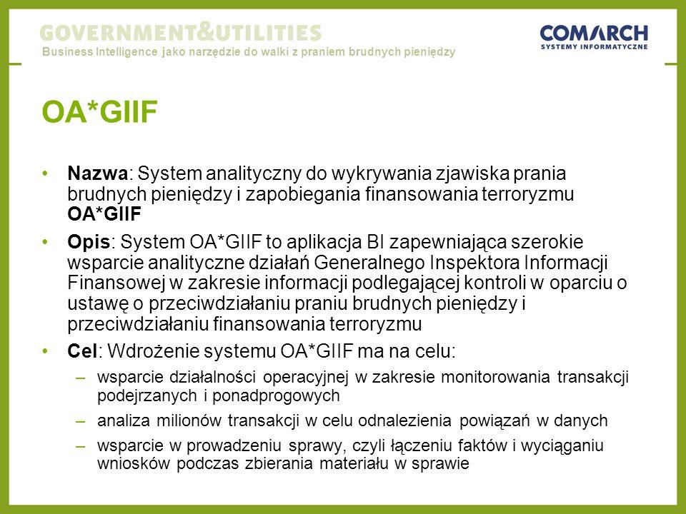 Business Intelligence jako narzędzie do walki z praniem brudnych pieniędzy OA*GIIF Nazwa: System analityczny do wykrywania zjawiska prania brudnych pieniędzy i zapobiegania finansowania terroryzmu OA*GIIF Opis: System OA*GIIF to aplikacja BI zapewniająca szerokie wsparcie analityczne działań Generalnego Inspektora Informacji Finansowej w zakresie informacji podlegającej kontroli w oparciu o ustawę o przeciwdziałaniu praniu brudnych pieniędzy i przeciwdziałaniu finansowania terroryzmu Cel: Wdrożenie systemu OA*GIIF ma na celu: –wsparcie działalności operacyjnej w zakresie monitorowania transakcji podejrzanych i ponadprogowych –analiza milionów transakcji w celu odnalezienia powiązań w danych –wsparcie w prowadzeniu sprawy, czyli łączeniu faktów i wyciąganiu wniosków podczas zbierania materiału w sprawie
