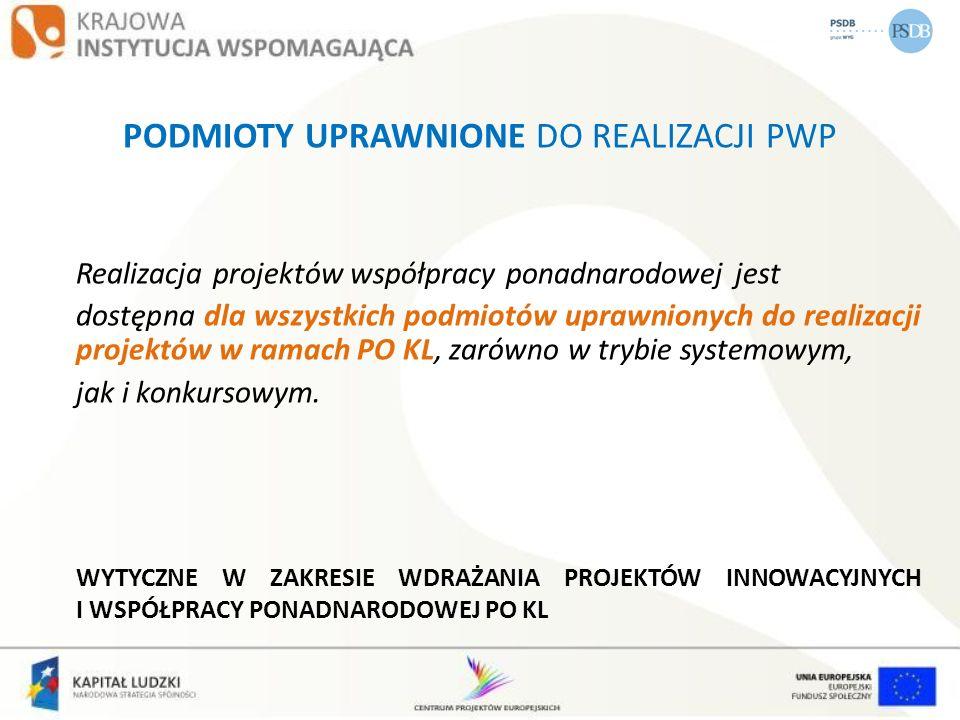 PODMIOTY UPRAWNIONE DO REALIZACJI PWP Realizacja projektów współpracy ponadnarodowej jest dostępna dla wszystkich podmiotów uprawnionych do realizacji