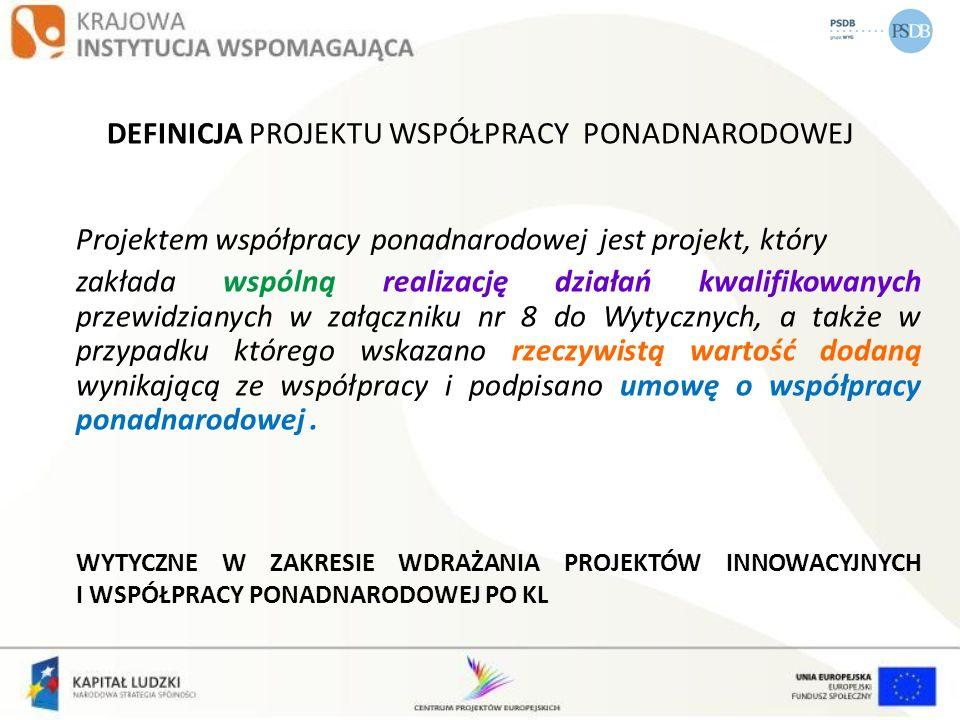 DEFINICJA PROJEKTU WSPÓŁPRACY PONADNARODOWEJ Projektem współpracy ponadnarodowej jest projekt, który zakłada wspólną realizację działań kwalifikowanyc