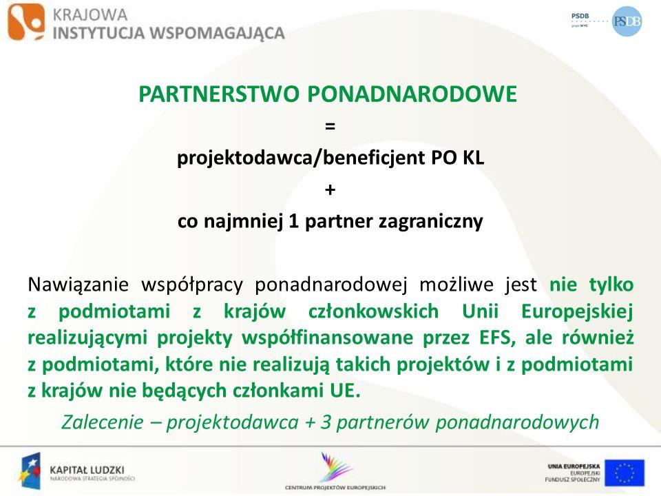 PARTNERSTWO PONADNARODOWE = projektodawca/beneficjent PO KL + co najmniej 1 partner zagraniczny Nawiązanie współpracy ponadnarodowej możliwe jest nie