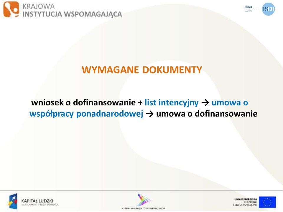WYMAGANE DOKUMENTY wniosek o dofinansowanie + list intencyjny umowa o współpracy ponadnarodowej umowa o dofinansowanie