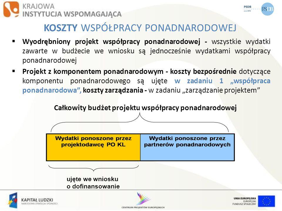 Wyodrębniony projekt współpracy ponadnarodowej - wszystkie wydatki zawarte w budżecie we wniosku są jednocześnie wydatkami współpracy ponadnarodowej P