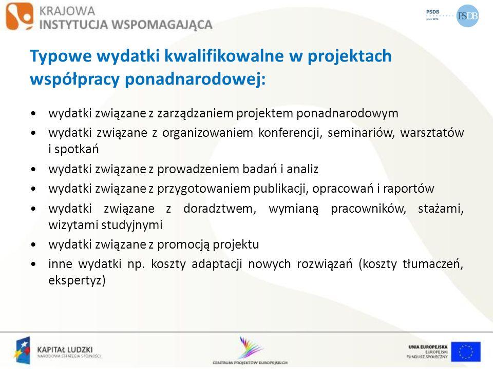 Typowe wydatki kwalifikowalne w projektach współpracy ponadnarodowej: wydatki związane z zarządzaniem projektem ponadnarodowym wydatki związane z orga