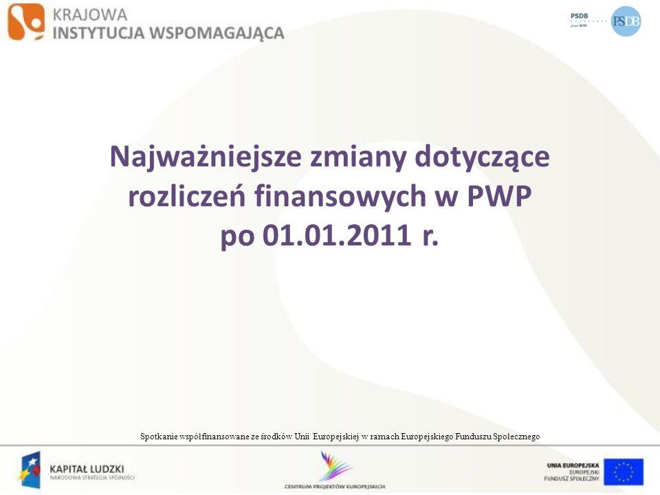 Najważniejsze zmiany dotyczące rozliczeń finansowych w PWP po 01.01.2011 r. Spotkanie współfinansowane ze środków Unii Europejskiej w ramach Europejsk