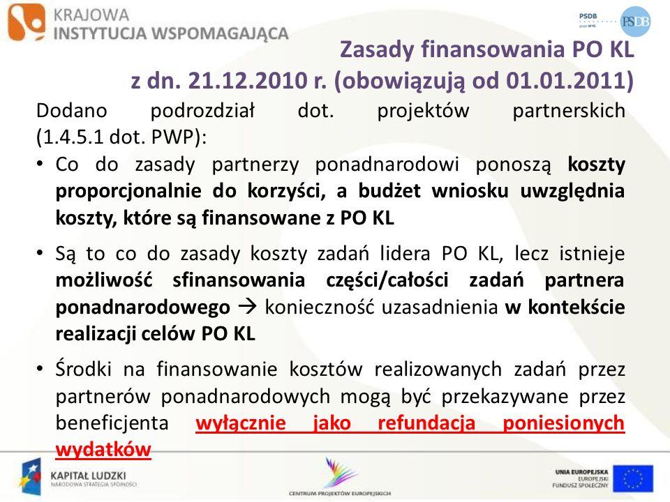 Zasady finansowania PO KL z dn. 21.12.2010 r. (obowiązują od 01.01.2011) Dodano podrozdział dot. projektów partnerskich (1.4.5.1 dot. PWP): Co do zasa