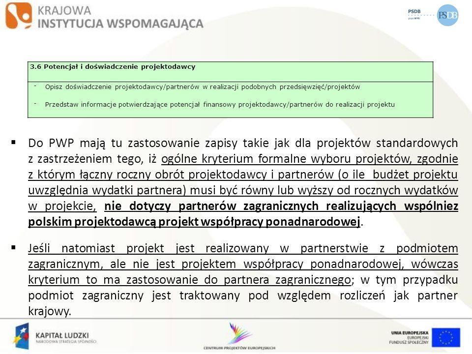 3.6 Potencjał i doświadczenie projektodawcy - Opisz doświadczenie projektodawcy/partnerów w realizacji podobnych przedsięwzięć/projektów - Przedstaw i