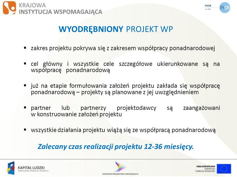 PROJEKT Z KOMPONENTEM PONADNARODOWYM projekt, poza współpracą ponadnarodową, obejmuje inne działania, a tylko część (komponent) jest realizowana w ramach współpracy ponadnarodowej co najmniej jeden cel szczegółowy odnosi się do współpracy ponadnarodowej komponent zaplanowany od początku realizacji projektu (na etapie opracowywania założeń projektu) komponent włączany do projektu realizowanego jako zmiana do wniosku o dofinansowanie (wymaga zgody IP/IP2, zwiększenie budżetu max o 30%) Zalecany minimalny czas realizacji komponentu 6 miesięcy.