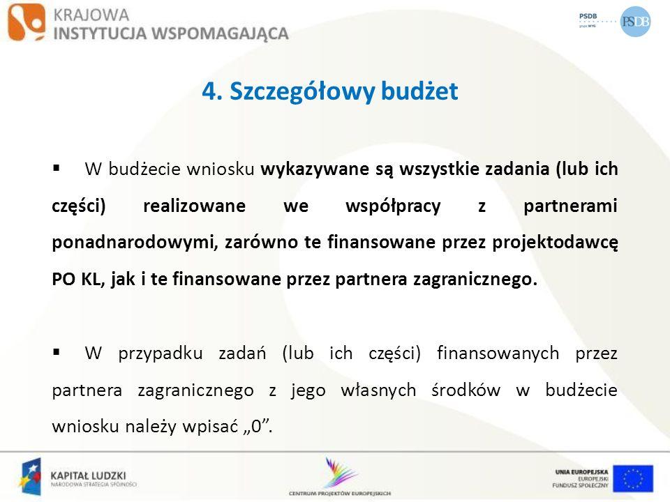 4. Szczegółowy budżet W budżecie wniosku wykazywane są wszystkie zadania (lub ich części) realizowane we współpracy z partnerami ponadnarodowymi, zaró