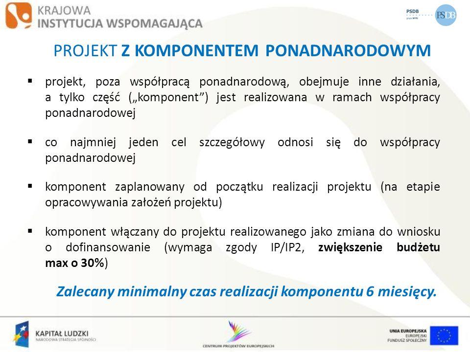 PROJEKT Z KOMPONENTEM PONADNARODOWYM projekt, poza współpracą ponadnarodową, obejmuje inne działania, a tylko część (komponent) jest realizowana w ram