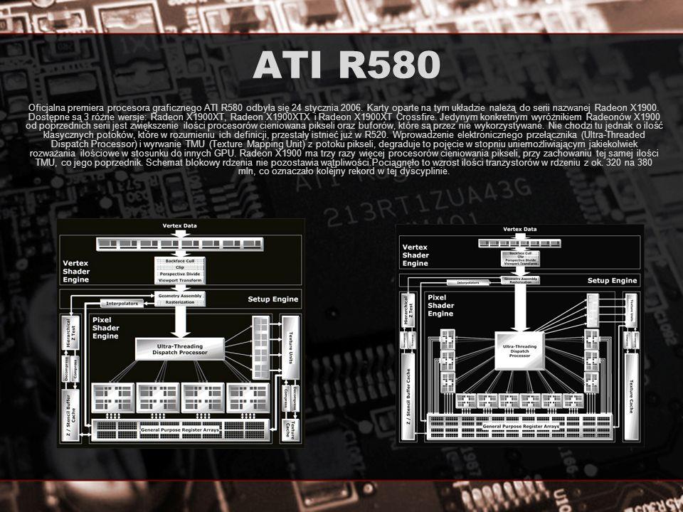 ATI R580 ATI w układzie R580 postanowiła zrezygnować z wykorzystania mocy silnika 3D, z ilością przetwarzanych jednocześnie pikseli na ilość jednoczesnych operacji arytmetycznych, które ich dotyczą.