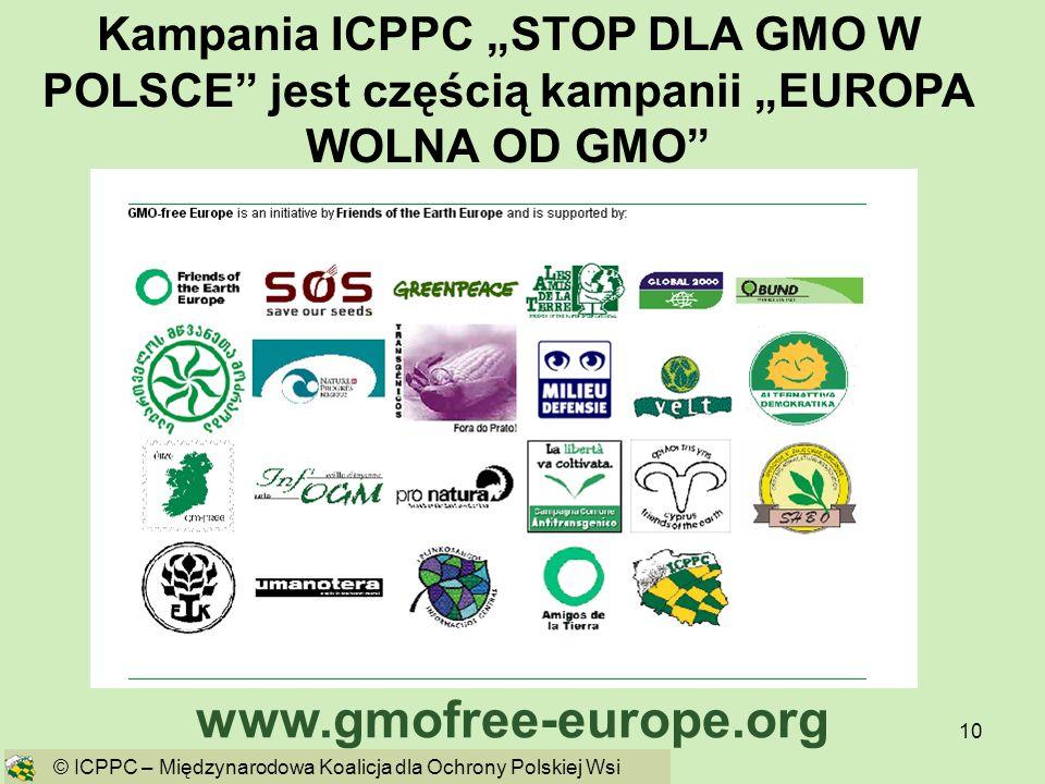10 Kampania ICPPC STOP DLA GMO W POLSCE jest częścią kampanii EUROPA WOLNA OD GMO www.gmofree-europe.org © ICPPC – Międzynarodowa Koalicja dla Ochrony