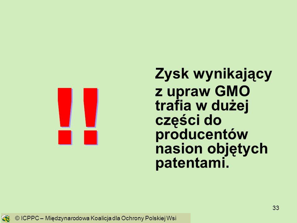 33 Zysk wynikający z upraw GMO trafia w dużej części do producentów nasion objętych patentami. © ICPPC – Międzynarodowa Koalicja dla Ochrony Polskiej