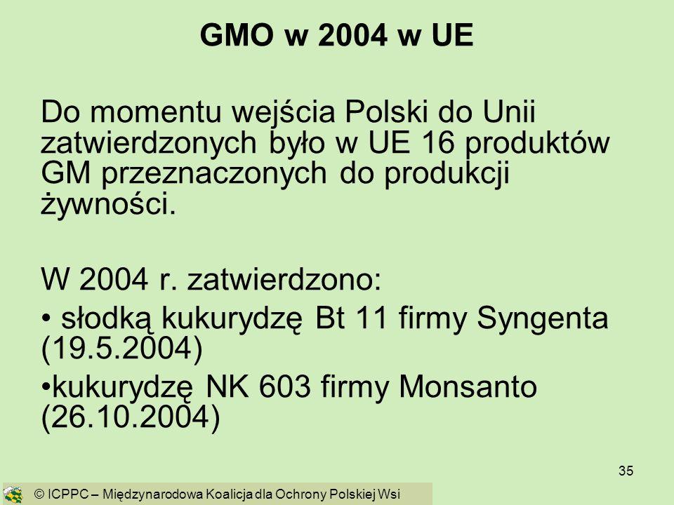 35 GMO w 2004 w UE Do momentu wejścia Polski do Unii zatwierdzonych było w UE 16 produktów GM przeznaczonych do produkcji żywności. W 2004 r. zatwierd