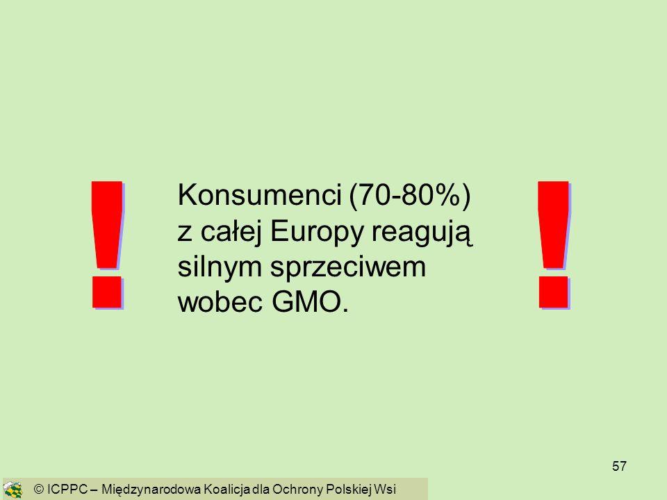 57 Konsumenci (70-80%) z całej Europy reagują silnym sprzeciwem wobec GMO. © ICPPC – Międzynarodowa Koalicja dla Ochrony Polskiej Wsi