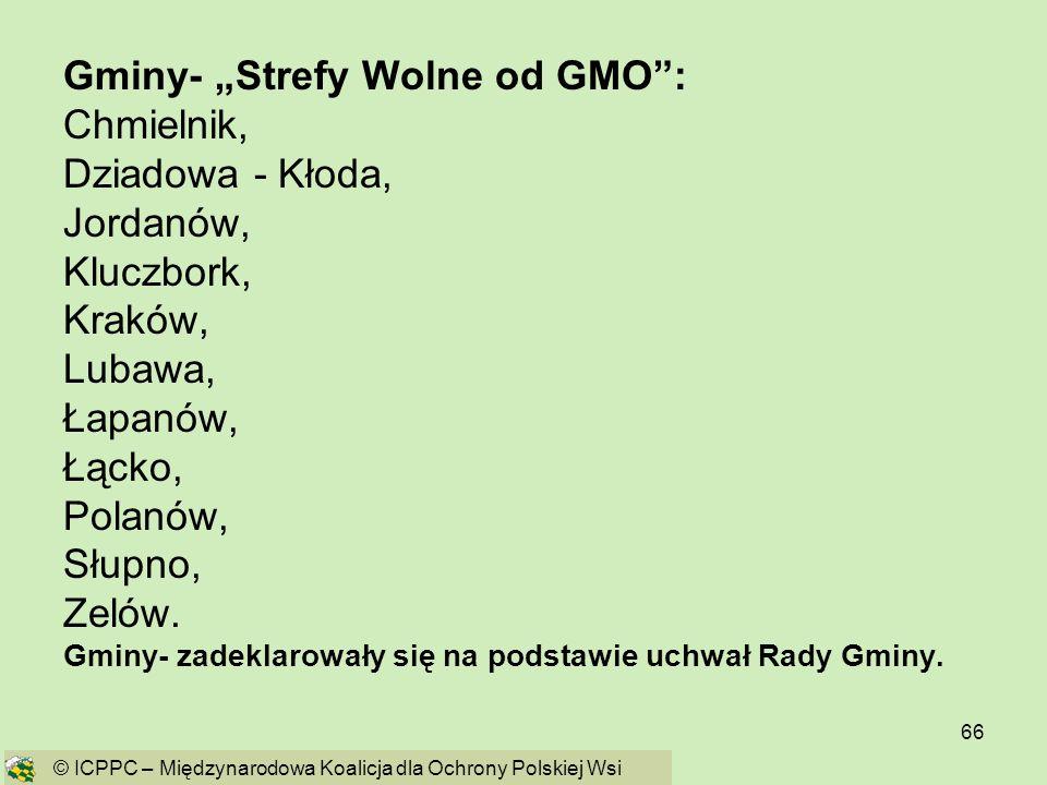 66 Gminy- Strefy Wolne od GMO: Chmielnik, Dziadowa - Kłoda, Jordanów, Kluczbork, Kraków, Lubawa, Łapanów, Łącko, Polanów, Słupno, Zelów. Gminy- zadekl