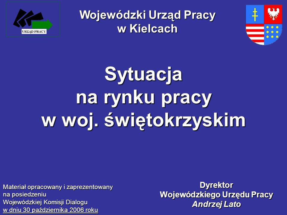 Sytuacja na rynku pracy w woj. świętokrzyskim Materiał opracowany i zaprezentowany na posiedzeniu Wojewódzkiej Komisji Dialogu w dniu 30 października
