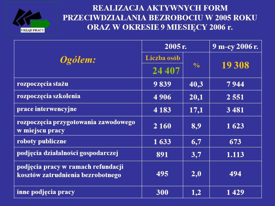 REALIZACJA AKTYWNYCH FORM PRZECIWDZIAŁANIA BEZROBOCIU W 2005 ROKU ORAZ W OKRESIE 9 MIESIĘCY 2006 r. Ogółem: 2005 r. 9 m-cy 2006 r. Liczba osób % 19 30