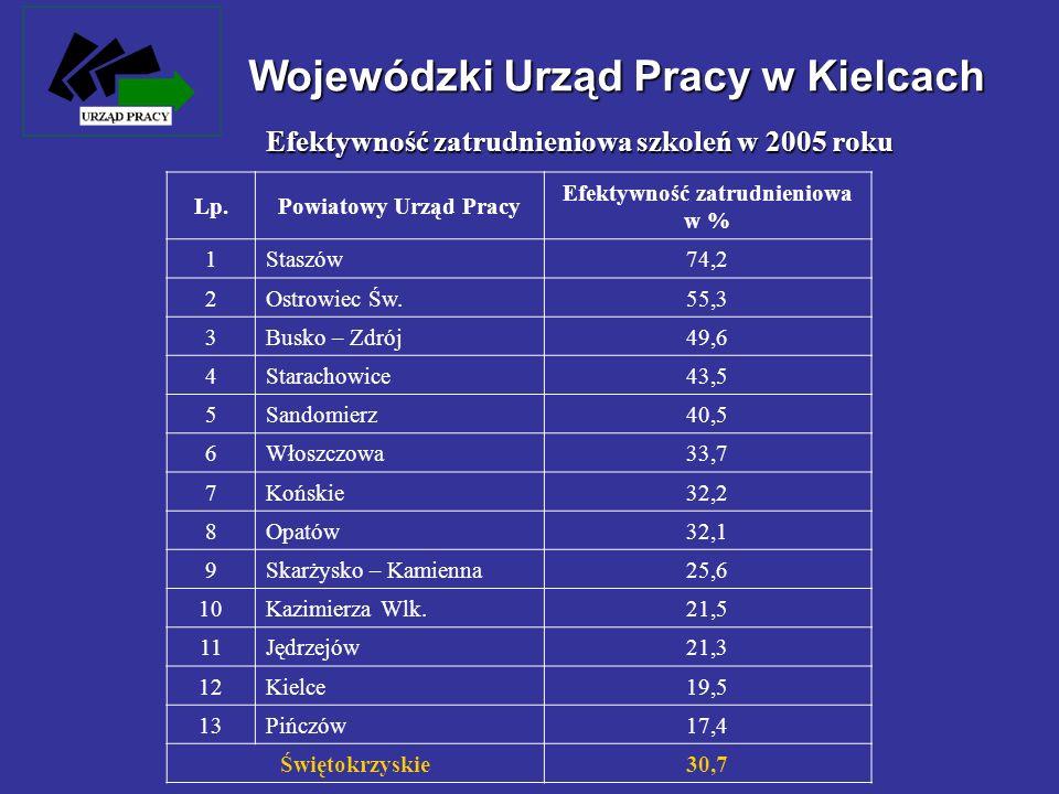 Lp.Powiatowy Urząd Pracy Efektywność zatrudnieniowa w % 1 Staszów74,2 2 Ostrowiec Św.55,3 3 Busko – Zdrój49,6 4 Starachowice43,5 5 Sandomierz40,5 6 Wł