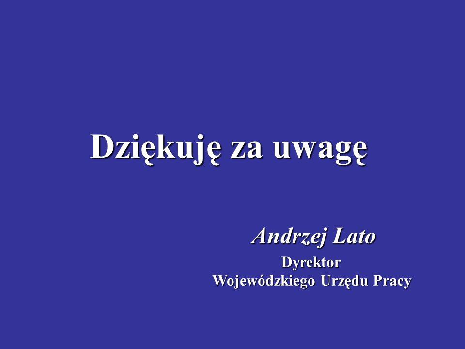 Dziękuję za uwagę Andrzej Lato Dyrektor Wojewódzkiego Urzędu Pracy