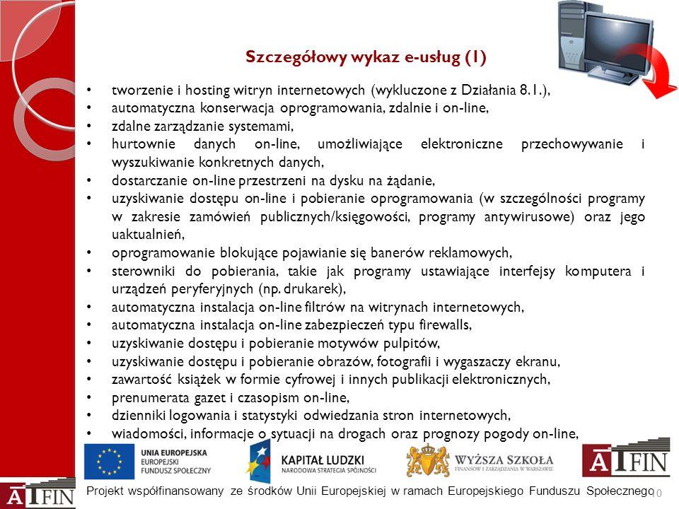 Projekt współfinansowany ze środków Unii Europejskiej w ramach Europejskiego Funduszu Społecznego Szczegółowy wykaz e-usług (1) tworzenie i hosting wi