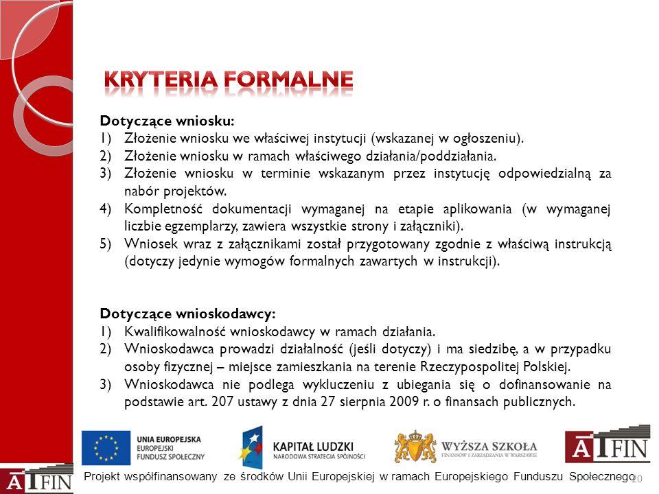 Projekt współfinansowany ze środków Unii Europejskiej w ramach Europejskiego Funduszu Społecznego 20 Dotyczące wniosku: 1)Złożenie wniosku we właściwe