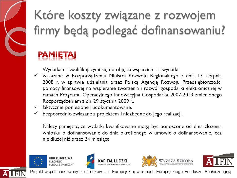 Projekt współfinansowany ze środków Unii Europejskiej w ramach Europejskiego Funduszu Społecznego Które koszty związane z rozwojem firmy będą podlegać