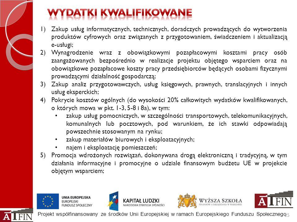 Projekt współfinansowany ze środków Unii Europejskiej w ramach Europejskiego Funduszu Społecznego 25 1)Zakup usług informatycznych, technicznych, dora
