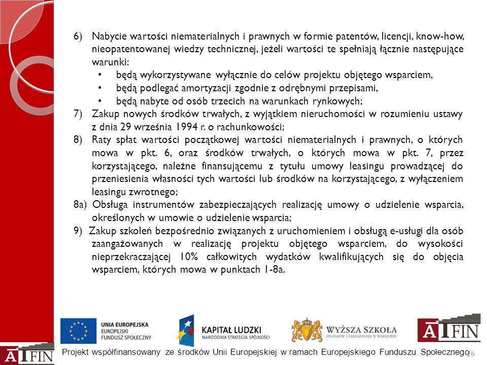 Projekt współfinansowany ze środków Unii Europejskiej w ramach Europejskiego Funduszu Społecznego 26 6)Nabycie wartości niematerialnych i prawnych w f